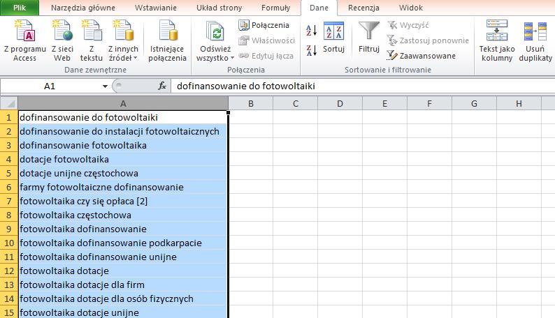 Usunięcie zduplikowanych fraz w Excelu
