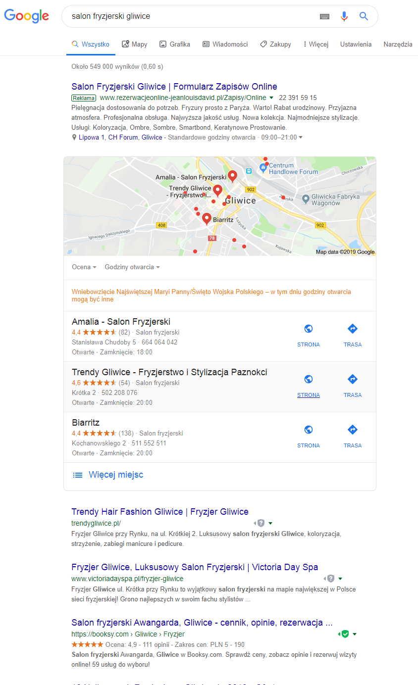 Lokalne Google wyniki z mapkami