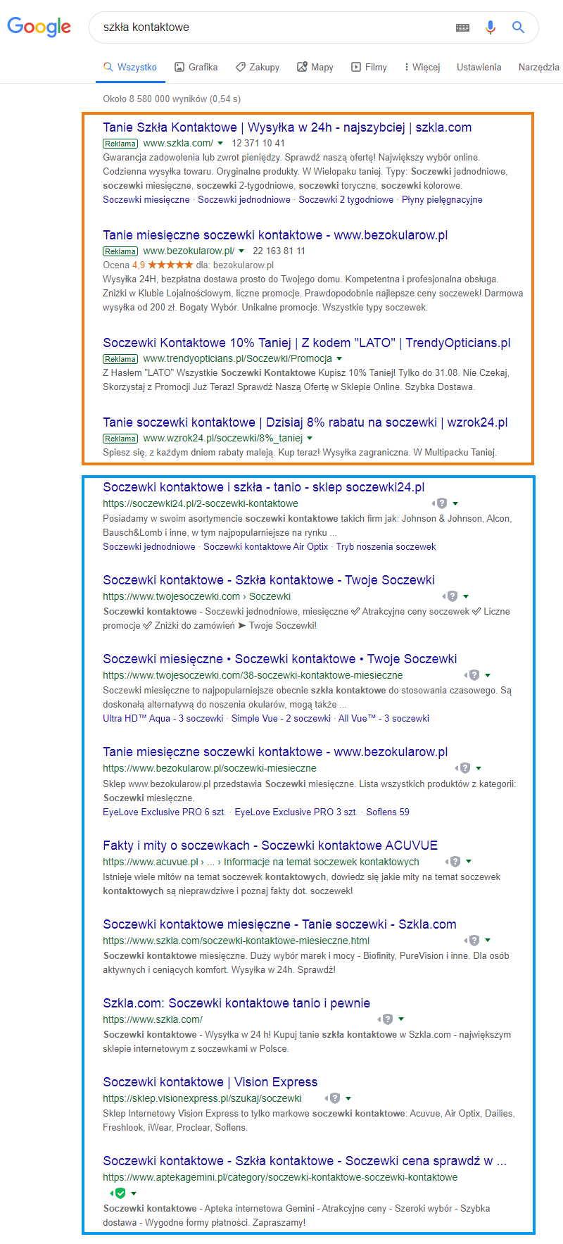 Jak wygladaja wyniki wyszukiwania google