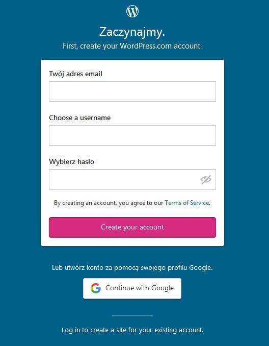 Zakladanie darmowego konta na WordPress.com