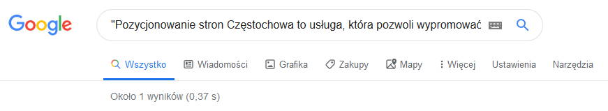 Google unikalność treści